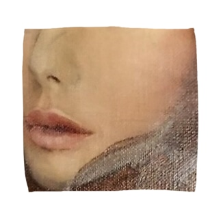 女性の口元(油絵) Towel handkerchiefs