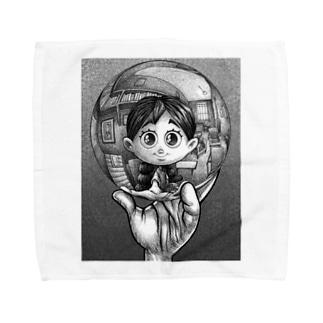 写像球体を持つ森邦子 Towel handkerchiefs