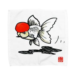 【金魚】 丹頂~カッコイイ顏してみた~ Towel handkerchiefs