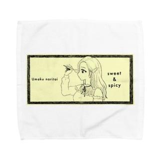 -ウマクナリタイ-ロングヘア女子 クリームイエロー Towel handkerchiefs