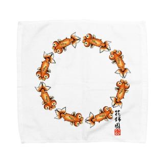 【金魚】花房頂天眼~るんるん~ Towel handkerchiefs