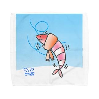 さむさむえび丸〜背景&サイン入り〜 Towel Handkerchief