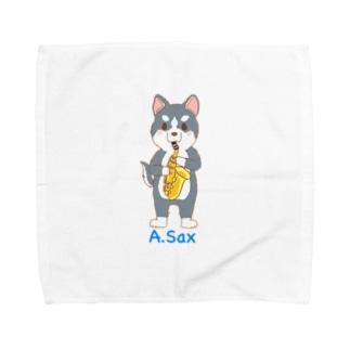 吹奏楽わんこ♪ ハスキー×アルトサックス Towel handkerchiefs