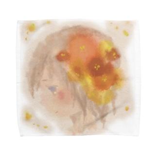 横顔と花 Towel handkerchiefs