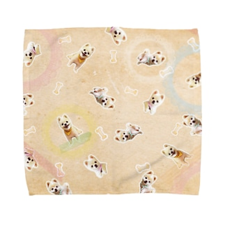 犬の俊介(タオルハンカチ) Towel handkerchiefs