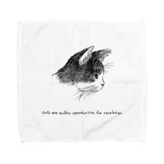 猫(横顔) Towel handkerchiefs
