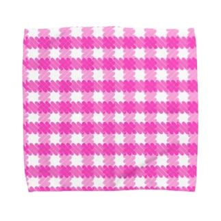 ギンガムチェック桃 Towel Handkerchief