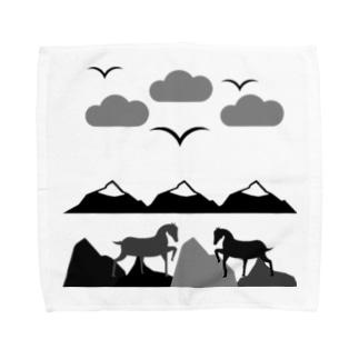 Horses on a mountain  Towel handkerchiefs