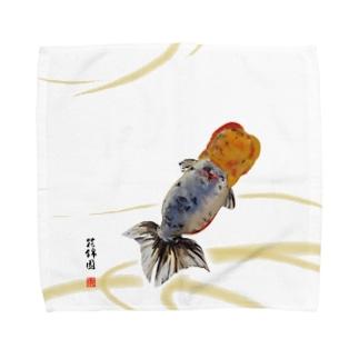 【金魚】江戸錦~藍のゆらめき~ Towel handkerchiefs