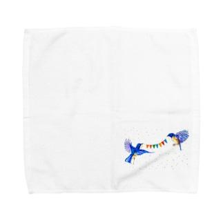 【アクリル画Artist erika】幸せの青い鳥 Towel handkerchiefs