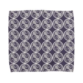 インコ丸紋パターン・濃鼠 Towel handkerchiefs