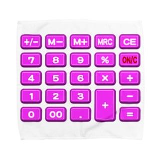 電卓pink タオルハンカチ