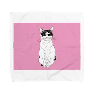 みーこおすわりイラスト 猫 白黒猫 保護猫 イラスト Towel handkerchiefs