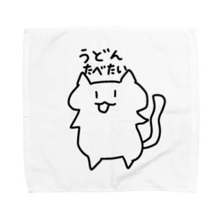 うどんがたべたいねこ Towel handkerchiefs