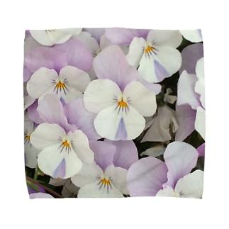 淡紫白パンジー タオルハンカチ