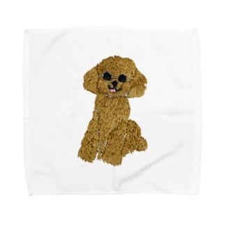 刺繍のトイプードル Towel handkerchiefs