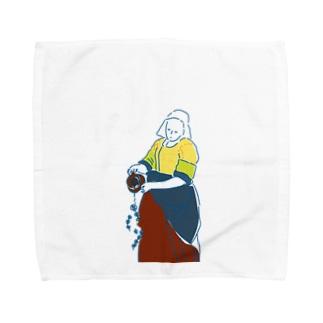 お花をそそぐおんな Towel handkerchiefs
