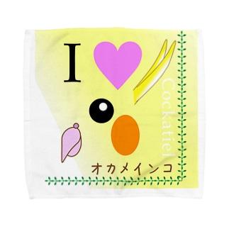 """【動物】 """"I LOVE オカメインコ"""" Towel handkerchiefs"""