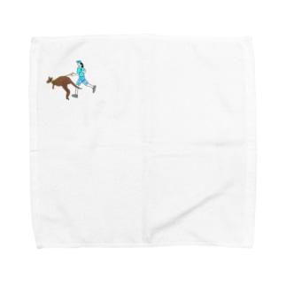 カンガルーとジョギングする人 Towel handkerchiefs