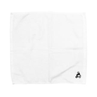 弁慶バイク(モノクロ) Towel handkerchiefs