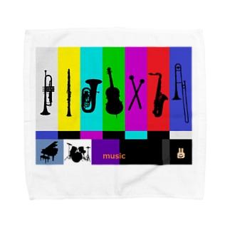 カラーバーと楽器 Towel handkerchiefs