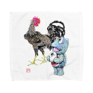 魚植綵絵〜雄鶏陸吾郎図 Towel handkerchiefs