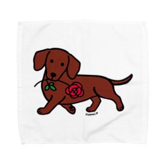 ダックスフンドとバラ Towel handkerchiefs