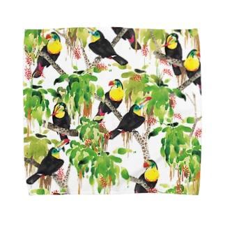 鳥(サンショクキムネオオハシ) Towel handkerchiefs