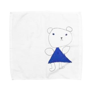 くまちゃん~青いお出かけ服~ Towel handkerchiefs