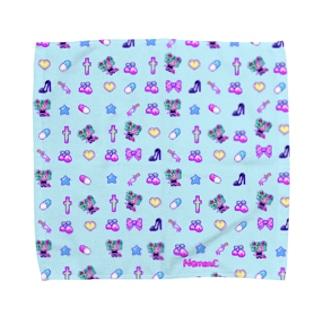 あぁちゃまのゆめかわ8bit  ブルー Towel handkerchiefs