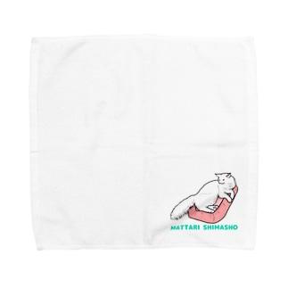 くつろぎニャンコ ロゴ入り② Towel handkerchiefs
