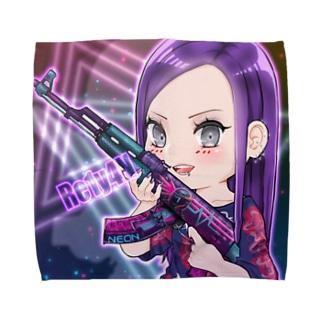 れいやんさん紫 Towel handkerchiefs