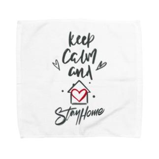 Keep Calm and Stay Home Towel handkerchiefs