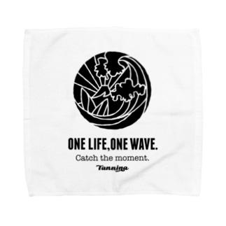One Life, One wave.(ブラック) タオルハンカチ