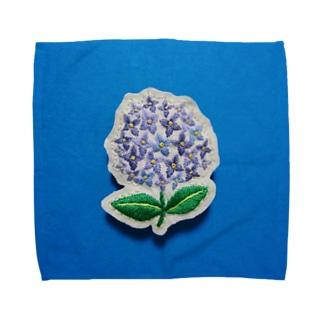 刺繍のアジサイ Towel handkerchiefs