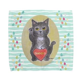 猫のぽぽちゃんラッキーキャット Towel handkerchiefs