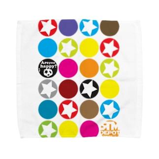カラフルな○がいっぱい!★がいっぱい!! Towel handkerchiefs