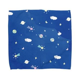 宇宙柄 星屑ロンリネス ブルー Towel handkerchiefs
