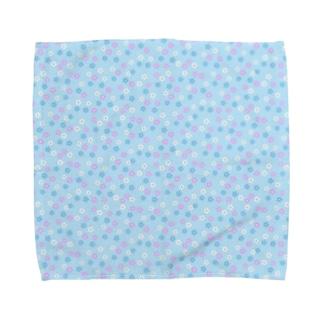 花(ブルー) Towel handkerchiefs