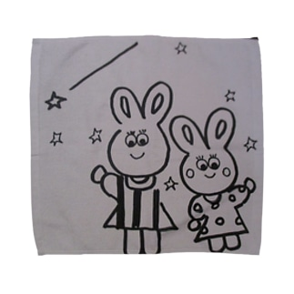 うさぎの親子の星 Towel handkerchiefs