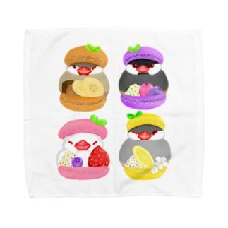 ぎゅっ♪マカロン文鳥ず Towel Handkerchief
