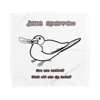 羽根くわえ文鳥 線画 Towel Handkerchief