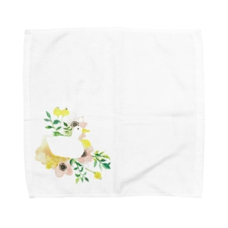 お花とあひる Towel handkerchiefs