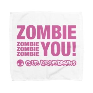 Zombie You! (pink print) タオルハンカチ