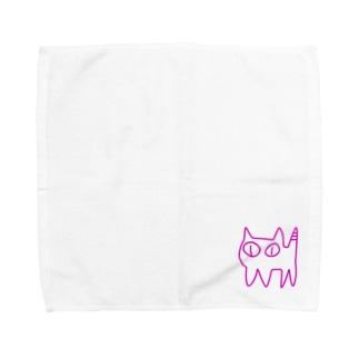 ねこですから。ピンク Towel handkerchiefs