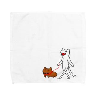 お散歩やくにゃん Towel handkerchiefs