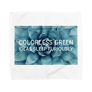 無色の緑色の考えが猛烈に眠る Towel handkerchiefs