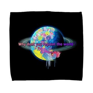 世界を塗り替えてみないか?ブラック Towel handkerchiefs