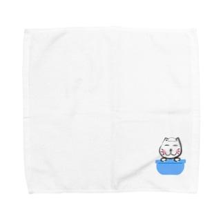 ネコ太郎もお風呂で丸くなる タオルハンカチ