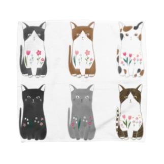 6匹の猫ちゃん Towel Handkerchief